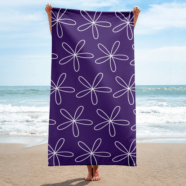 CS Flower Towel Dark Purple - Camilla Simonsen