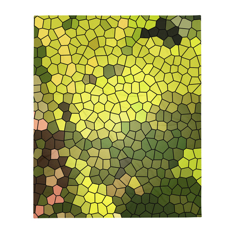 Golden Spirit Leaves Mosaic Throw Blanket - Camilla Simonsen