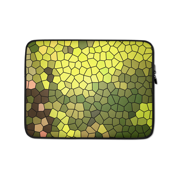 Golden Spirit Leaves Mosaic Laptop Sleeve - Camilla Simonsen