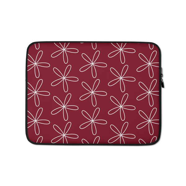 CS Flower Laptop Sleeve Dark Red - Camilla Simonsen