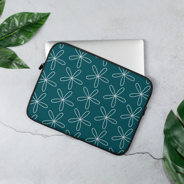 CS Flower Laptop Sleeve Blue Green - Camilla Simonsen