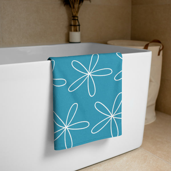 CS Flower Towel Turquoise Blue