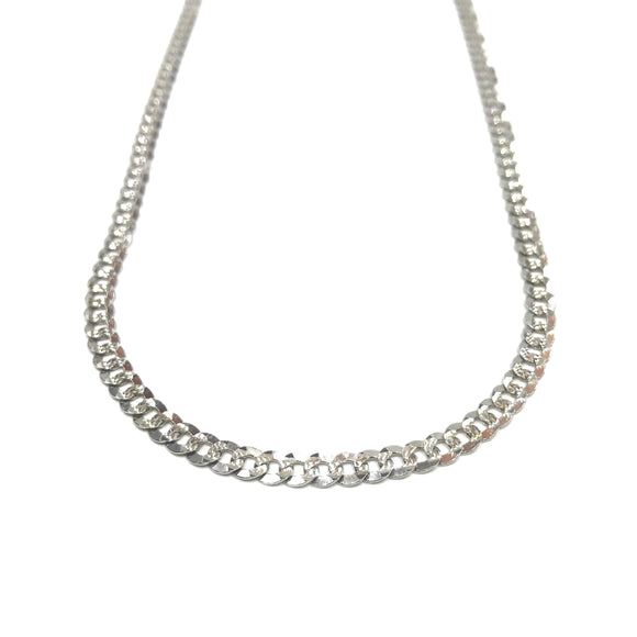 Silver Necklace - Flat Thin Oval Chain