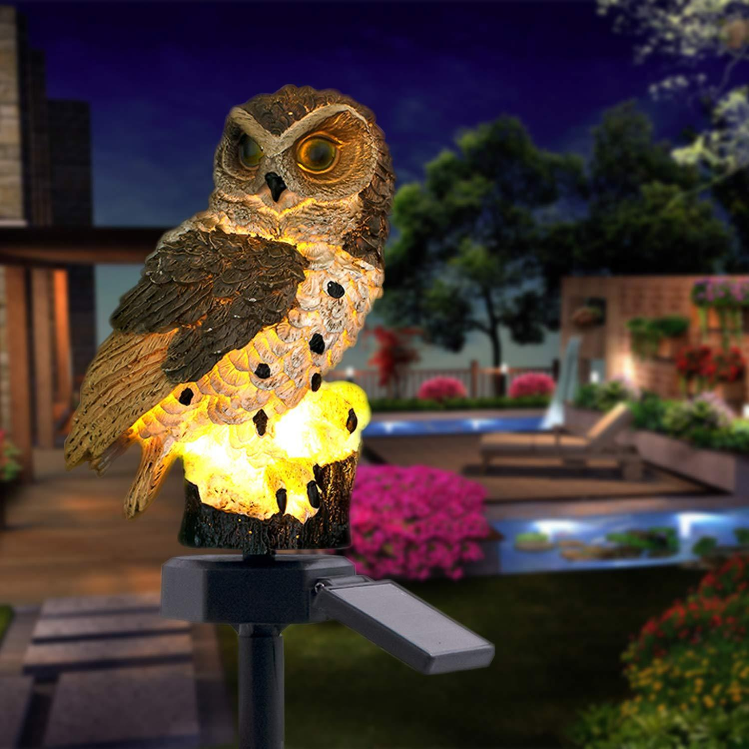 60% OFF - Highpot Owl Shape Solar Powered LED Lamp Outdoor(Brown+White)