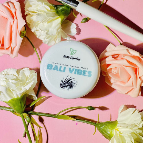 hydrating clay mask with avocado bali vibes and flowers