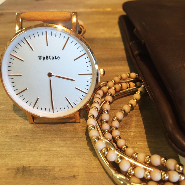 Upstate Watch - Tan and Rose Gold