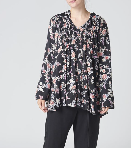 Ellis and Dewey Black Floral Smocked Blouse