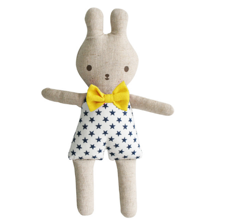 Alimrose Bonnie Bunny Rattle Navy Bow Tie