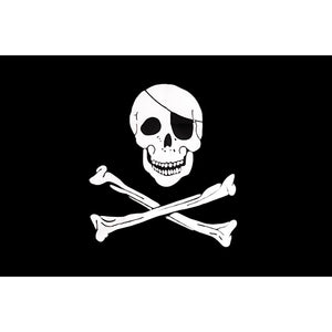 One-eyed Rum Red Scarf Cross Sword Crossbones Skull Pirate Flag Hanging Decor  isfang