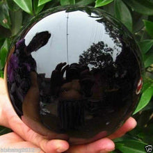 Load image into Gallery viewer, 80MM+stand Natural Black Obsidian Sphere Large Crystal Ball Healing Stone