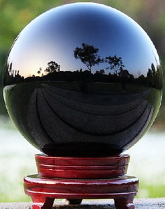 80MM+stand Natural Black Obsidian Sphere Large Crystal Ball Healing Stone