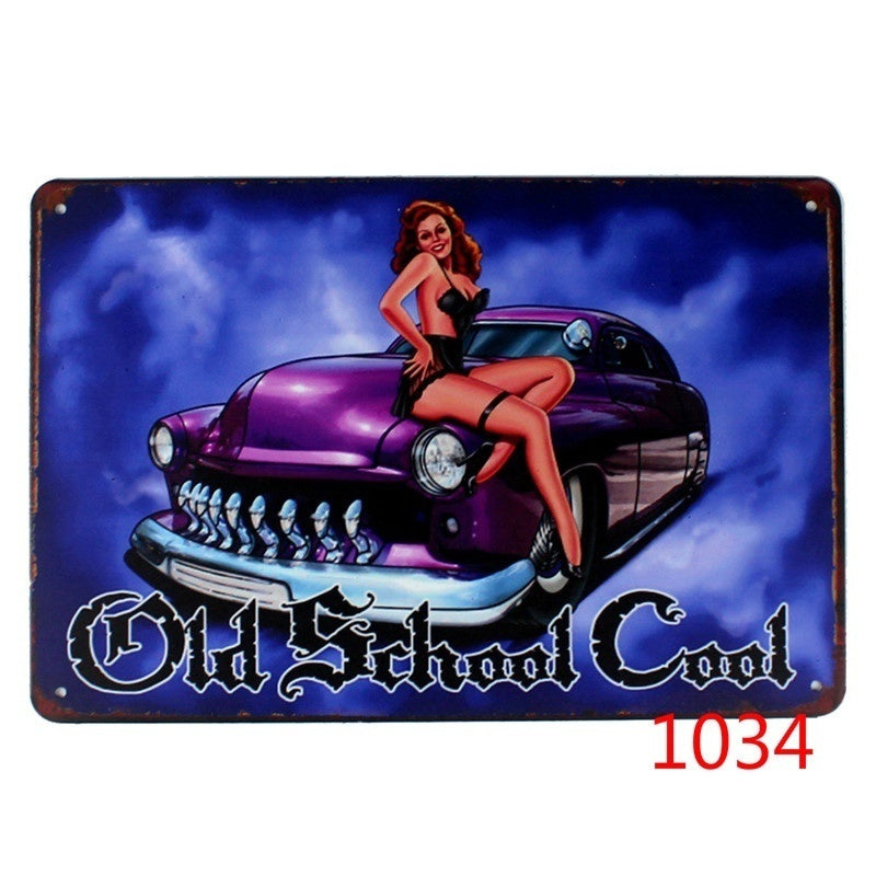 1Pc 30X20cm Vintage Auto Mechanics Mate and Girl Gas Metal Tin Signs Plates for Home Wall Bar Garage Art Craft Art Decor