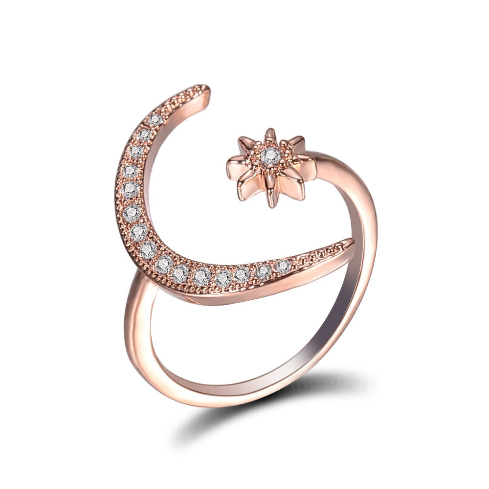 New crescent moon ring European and American plating 18K creative exaggerated engagement ring