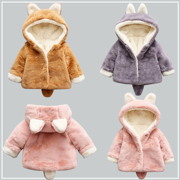 Infant Boys and Girls Baby Winter Coat Cotton Jacket Plus Velvet Thick Coat
