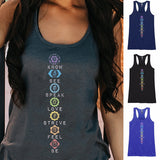 4 Colors Plus Size Summer Women Fashion Rainbow Chakras Racerback Print Tank Top T-shirt Boho Women's Shirt Yoga Top Beach Wear Vest