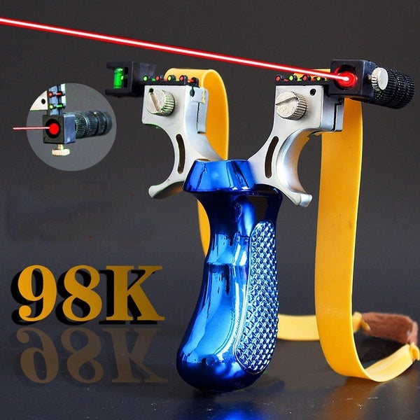 2020 New Style Big Power High Precision New Outdoor Hunting Slingshot Laser Aiming Slingshot Using Flat Rubber Band