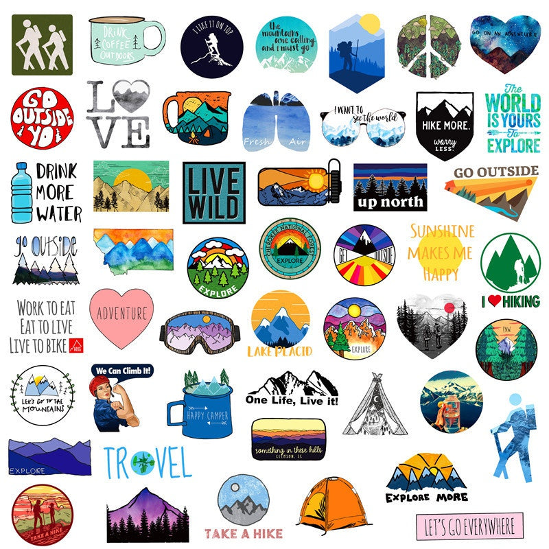 25/50PCS Outdoor Adventure Hiking Adventure Stickers For Car Styling Bike Motorcycle Phone Laptop Travel Luggage DIY TOY Sticker car