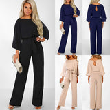 Foruceate Women's Fashion Autumn And Winter Casual Long-sleeved Jumpsuit Wide Leg Solid Color Loose High Waist Jumpsuit