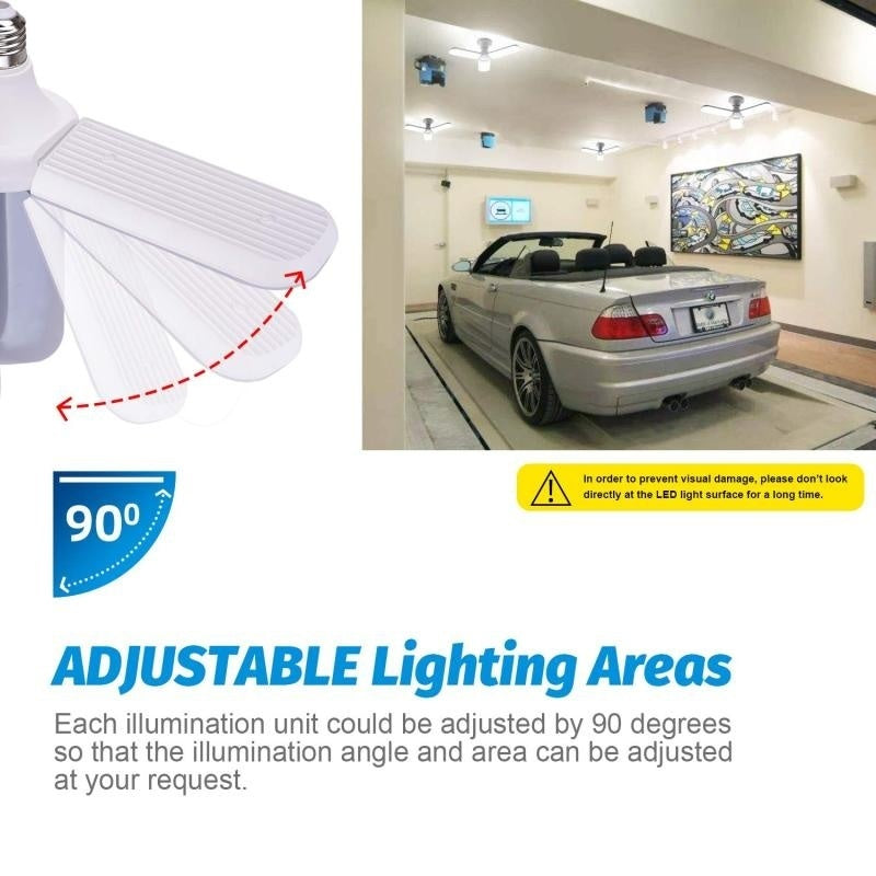 LED Garage Lights 45/W60W E27 4500LM Deformable Ceiling Garage Lights with 3/4 Adjustable Panels Led Garage Lighting for Workshop Basement Warehouse