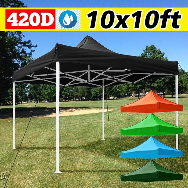 10x10ft Up Oxford Canopy Top Replacement for  Outdoor Camping Patio Pavilion Gazebo Top Sunshade Cover (Frame in picture is NOT INCLUDED)