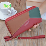 RFID Women Leather Wallet Large Capacity Purse Double Zipper Wallet Casual Clutch Card Holder Phone Pocket