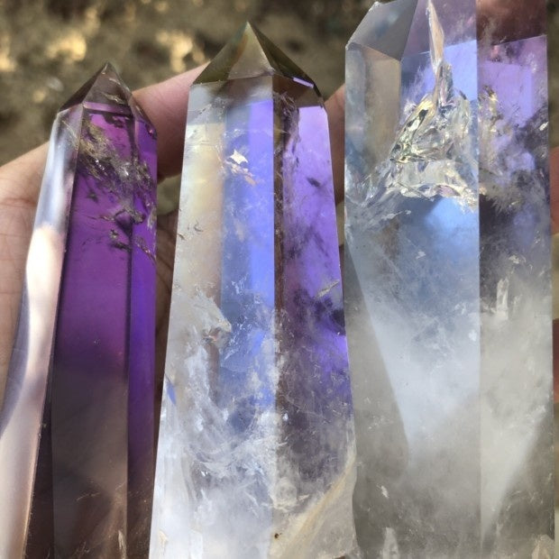 1Pcs Angel Aura Natural Clear Quartz Crystal Points Single Terminated Wand Polished Reiki Healing Specimen Rock Crystal Quartz