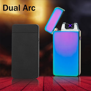 Metal Dual Arc USB Charging Lighter Pulsed Windproof Electric Cigarette Cigar Lighters Flameless Rechargeable Lighter Plasma