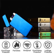 Load image into Gallery viewer, Metal Dual Arc USB Charging Lighter Pulsed Windproof Electric Cigarette Cigar Lighters Flameless Rechargeable Lighter Plasma