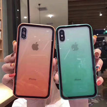 Load image into Gallery viewer, Fashion Transparent Gradient Phone Case for Iphone XR XS Max 6 6S 7 8Plus Luxury Acrylic Back Cover Coque for IPhone X Candy Color Edge