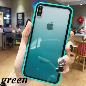 Fashion Transparent Gradient Phone Case for Iphone XR XS Max 6 6S 7 8Plus Luxury Acrylic Back Cover Coque for IPhone X Candy Color Edge