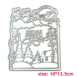Christmas Snow Frame Metal Cutting Dies for DIY Scrapbooking Photo Album Decorative Embossing Paper Card Crafts Die Cut