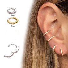 Load image into Gallery viewer, 2019 new mini gold hoop cartilage spiral earrings conch puncture car perforated diamond earrings nose piercing ring
