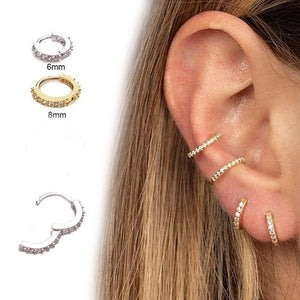 2019 new mini gold hoop cartilage spiral earrings conch puncture car perforated diamond earrings nose piercing ring