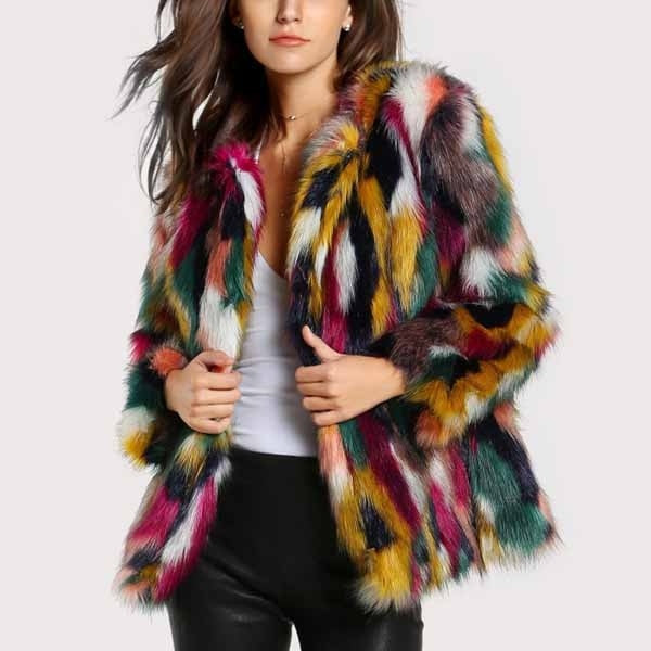Winter Color Fur Coats Women Elegant Fur Coats Colorful Faux Fur Fashion Long Sleeve Collarless Coat