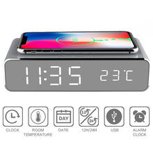 Load image into Gallery viewer, LED electric alarm clock with phone charger wireless desktop digital thermometer clock HD clock mirror with time memory