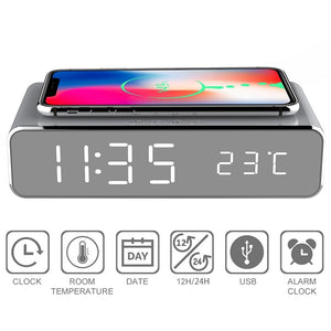LED electric alarm clock with phone charger wireless desktop digital thermometer clock HD clock mirror with time memory