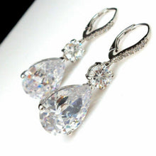 Load image into Gallery viewer, Vintage Jewelry 925 Sterling Silver Earrings White Diamond Sapphire Earring Drop Wedding Anniversary Earring