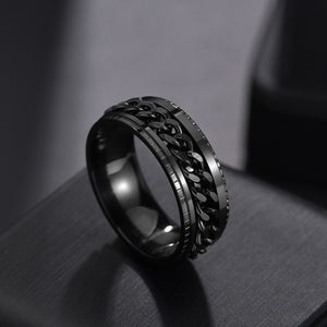 Punk 8mm Spinner Chain Men Rotatable Ring Stainless Steel Party Gift