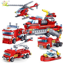 Load image into Gallery viewer, 348PCS New 4IN1 Firefighting Trucks Cars Helicopter Model Figures Building Blocks  Hot Selling