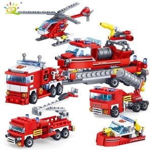 348PCS New 4IN1 Firefighting Trucks Cars Helicopter Model Figures Building Blocks  Hot Selling