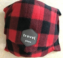 Load image into Gallery viewer, Travel rest soft neck support aircraft pillow travel pillow cervical pillow nap breathable pillow neck drag black red lattice