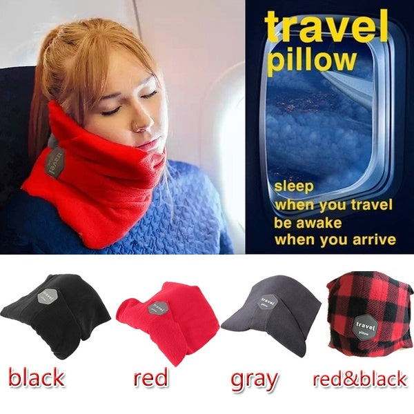 Travel rest soft neck support aircraft pillow travel pillow cervical pillow nap breathable pillow neck drag black red lattice
