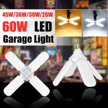 Load image into Gallery viewer, 60/45/36/30/26W LED Garage Lights 7000LM Foldable E27 Bulb 2/3/4 Adjustable Fan Blades Deformable Ceiling Lighting White/Warm AC 170-265V For Workshop Home Office Warehouse