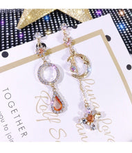 Load image into Gallery viewer, S925 Silver Needle Korean Version of The New Retro Earrings Women Inlaid Crystal Zircon Stars Moon Water Drops Asymmetric Earrings