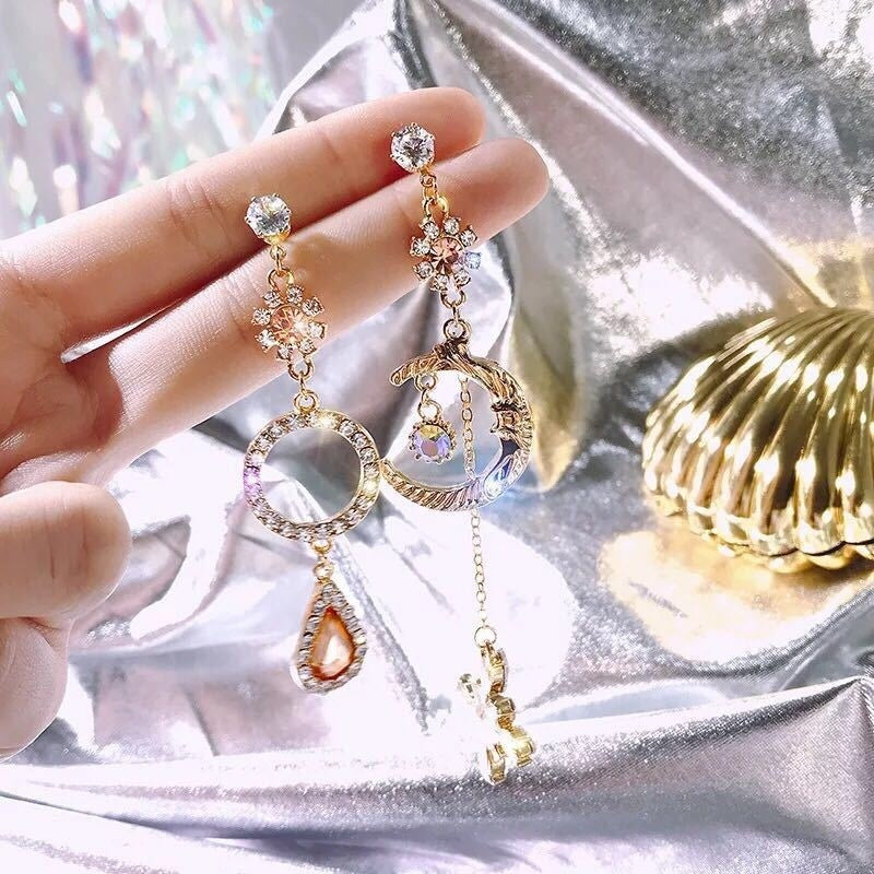 S925 Silver Needle Korean Version of The New Retro Earrings Women Inlaid Crystal Zircon Stars Moon Water Drops Asymmetric Earrings