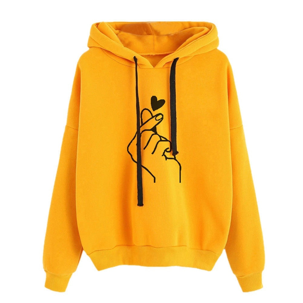 Plus Size Long Sleeve New Fashion Women's Hooded Sweatshirt Casual Printed Finger Heart Solid Color Loose Tops Hoodies Outwear Coat