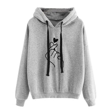 Load image into Gallery viewer, Plus Size Long Sleeve New Fashion Women's Hooded Sweatshirt Casual Printed Finger Heart Solid Color Loose Tops Hoodies Outwear Coat