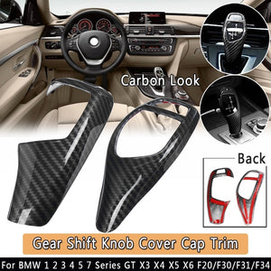 2 Type Carbon Look Car Gear Shift Knob Cover Cap Trim For BMW 1 2 3 4 5 7 Series GT X3 X4 X5 X6 F20/F30/F31/F34