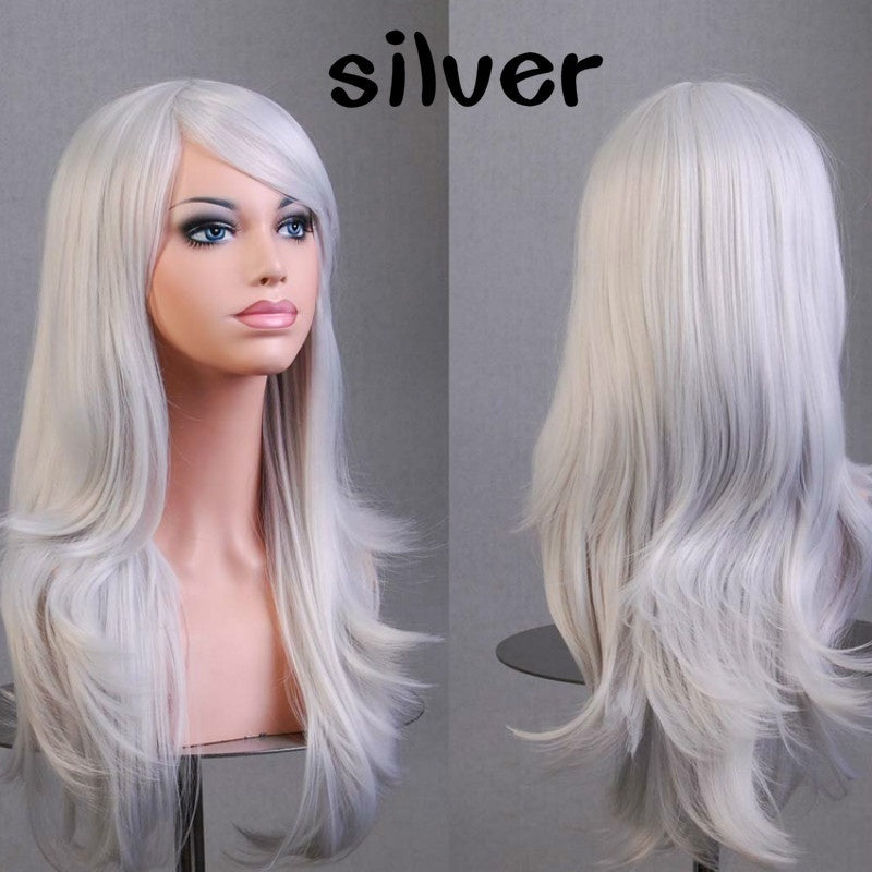 70cm Long Wavy Curly Cosplay Wig 13 Colors Solid Hair Women Full Cosplay Anime Wigs