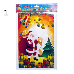 10PCs Christmas Self Sealing Bags Plastic Candy Cookies Pouch Gift Bags New Year Gift Bag Pouch